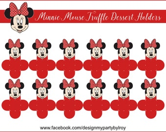 24 MINNIE MOUSE CHOCOLATE Holders,Dessert Truffle Cups,Brigadeiro para Forminha,Petal Thank you Boxes,Minnie Mouse Party Decor,Candy Holders