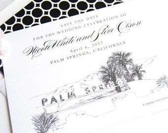 Palm Springs Sign Skyline Hand Drawn Save the Date Cards (set of 25 cards)