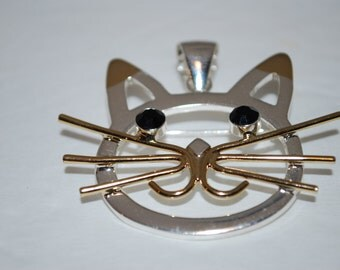 Cat Brooch or Pendant Gold and Silver Tones