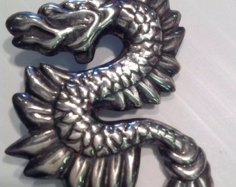 Vintage Sterling Silver Fire Breathing Dragon Serpent Brooch Pin Pendant