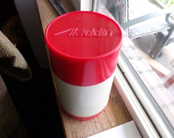 Vintage Aladdin Thermos, Red cup thermos, Camping thermos, Pint Aladdin Thermos, 1970's movie prop