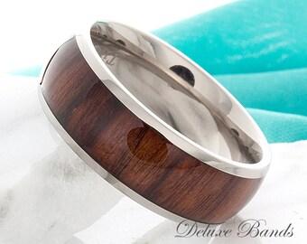 Titanium Wedding Band Dome 8mm Hawaiian Koa Wood Inlay Mens Anniversary Engagement Promise Wood Inlay Comfort Fit Ring FREE Laser Engraving