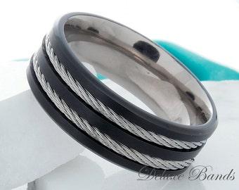 Titanium Black Band Black Titanium Wedding Ring Titanium Anniversary Band Double Cable Inlay Pipe Cut 8mm FREE Laser Engraved Comfort Fit