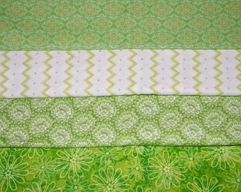 4 FQ Bundle – LIME GREEN Prints 100% Cotton Quilt Craft Fabric Fat Quarters