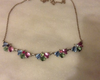 Vintage enamel and rhinestone pink and blue green Hollywood necklace