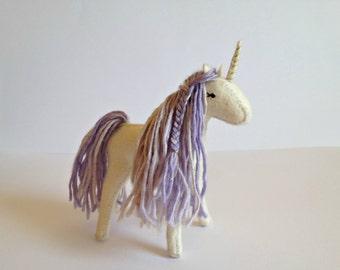Violet felt unicorn -  Handstitched felt unicorn - Unicorn