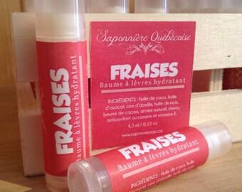 Baume à lèvre hydratant, Fraises, Moisturizing lip balm, Strawberry