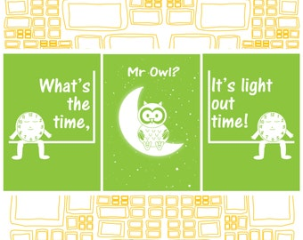 Baby Moon OWL Digital Download Wall Art Mr Owl on the Moon, Set of 3 A4 Art Wall PRINT for Nursery or Baby Shower Gift