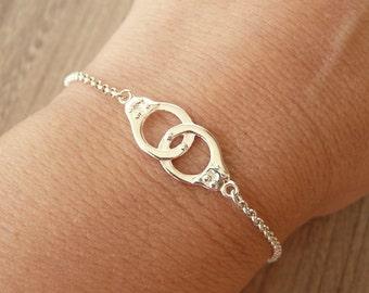 Sterling Silver Handcuff Bracelet, Partners in Crime Bracelet, Gold Handcuff Bracelet, Thin Chain Bracelet, 925 Sterling Silver Jewelry