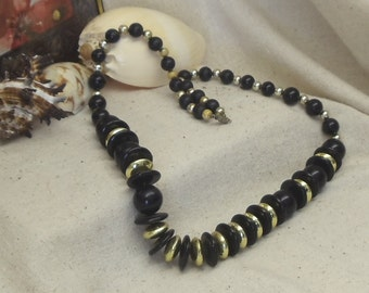 "Vintage 29"" Long 1970's Statement Necklace,Chunky Black Wood Beads ,Acrylic Gold Beads,Screw-on Clasp,#VJ2017N"