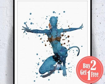 SALE: Avatar Poster, Watercolor Wall Art, Avatar Print, Watercolor Decor, Avatar Art, Livingroom Decor, Wall Decorations, Watercolor Art Pri