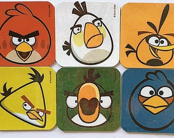 Angry Birds Refrigerator Magnets, Party Favors, 6 Mini Fridge Magnets Set, Birthday Party
