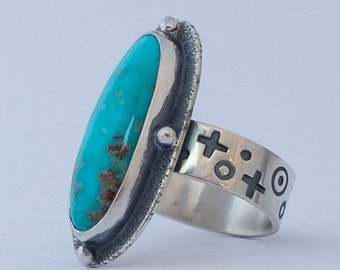 Turquoise Ring, Bisbee Turquoise, Blue Turquoise, Sterling Silver Ring, Turquoise Jewelry, Hand Made Silver Ring, Southwestern Jewelry