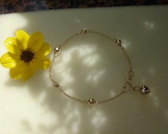 Bracelet gold, 585 vintag, gold bracelet with balls, delicate