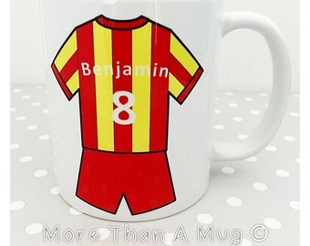Football Mug - Choose your own Football Shirt With Name And Number Personalised. Christmas gift - secret santa present -  Birthday treat.
