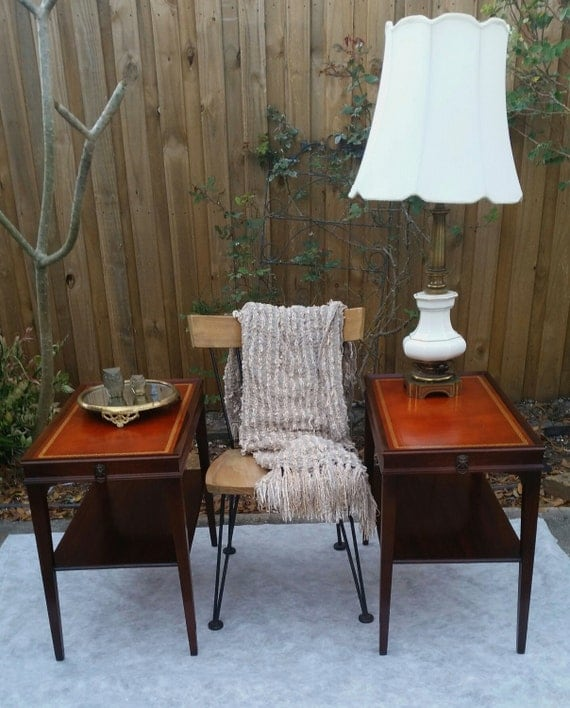 Vintage leather top mahogany end tables pair mid century side for Mahogany side tables living room