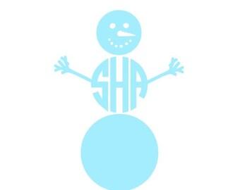 Snowman Monogram instant download digital cutting file for cutting machines - SVG EPS PS Studio3 Studio (monogram font sold separately)