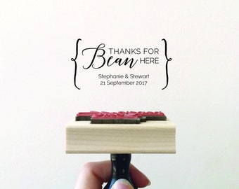 Thanks for Bean Here Stamp, Wedding Stamp, Coffee Bean Favour Stamp, Cocoa Beans Favor, Bean Here Stamp, Thank You Stamp (STHAN100 - S.7)