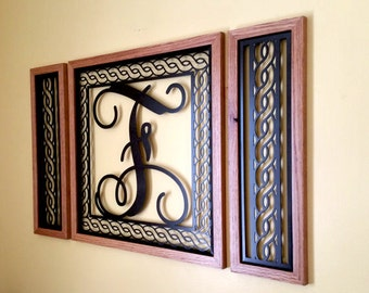 Monogrammed Wall Art wrought iron inspired wall art with monogram initial indoor