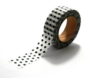 10m Black and White Polka Dot Spotted Washi Tape Spot Dots Paper Masking Tape 15mm
