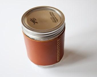 Leather Coffee Mug, Travel Mug, Beer Mug, Travel Coffee Cup, Hipster Gift, Leather Ball Mason Jar Mug Sleeve, Leather Cup Holder