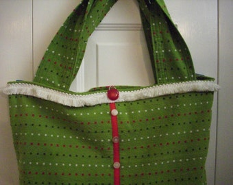 OOAK Green Striped Shopping Tote