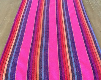 Mexican Table Runner, Tablecloth Or Napkins. Washed Look Pink Fabric, Woven  Details,