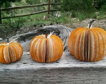 Book Pumpkins- Fall Decor, Cut Pumpkins, Halloween, Harvest, Hand Made