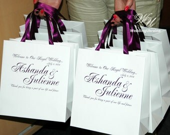 25 Welcome Bags with Plum satin ribbon and names  Mr and Mrs Wedding gift Bags Welcome to Our Wedding Custom Personalized Wedding Gift bag