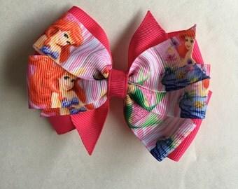 Disney Princess Ariel Inspired Hair Bow/Princess Hair Bow/ Pink Hair Bows