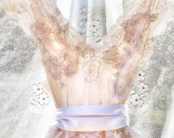 Ivory lace shabby chic boho wedding dress xs