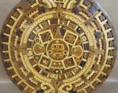 Vintage Central American Archaeological Hand Carved Wood Aztec Calendar In MINT Condition