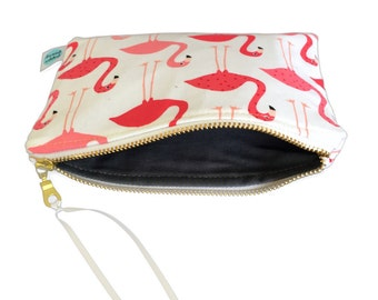 Flamingos pouch, pink purse, zipper pouches, zip purses, flamingos, handmade, cosmetic case, pink makeup bag, patterned makeup case, pouches