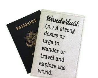 Wanderlust Passport cover, Wanderlust, travel quotes, passport with quote, screen print, passport sleeve, passport wallet