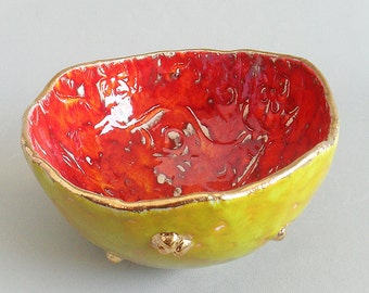 Handmade Ceramic Bowl Colorful Gold-Plated Size Large