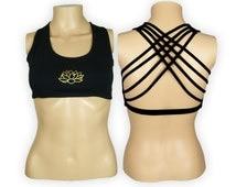 Lotus Black Yoga Bra Top  -Lotus Flower Criss Cross design workout bra - Athletic bra -  sports bra - Hot Yoga Bra Top - Lycra Cotton Blend
