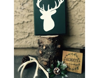 Rustic Deer Sign on Natural Wood Plaque