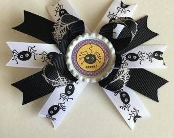 Halloween Mini Boutique Stacked Hairbow- Halloween Hairbows- Spider Hairbows- Spider Hairbow- Halloween Bows- Halloween Bow- Spider Bows-