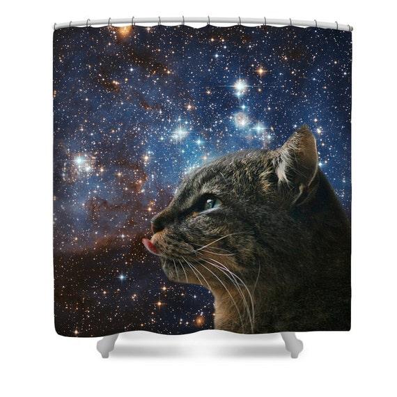 Space Cat Shower Curtain Funny Cute Cat In Space Shower