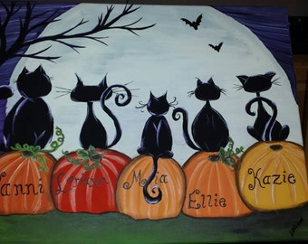 Halloween cat family personalized