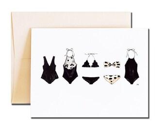 Bikini Card / Fashion Illustration Card / Bikini Gift / Blank Card Her / Best Friend Birthday Card / Friendship Card/ Card for Her/ Swimsuit