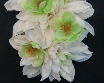 Double white dahlia with light green flowers and gold sparkle pinup hair flower