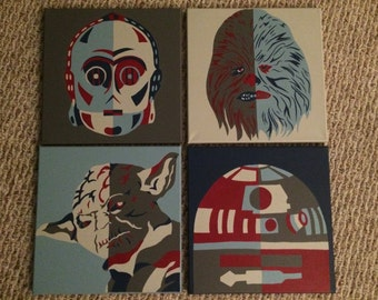 Star Wars Hand Painted Canvas Set of 4 R2D2 C3PO Chewbacca Yoda
