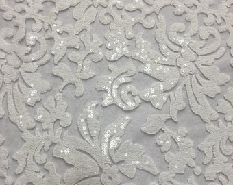 """Beyonce Floral Apparel Sequence Lace Fabric - White - By The Yard - 56"""""""