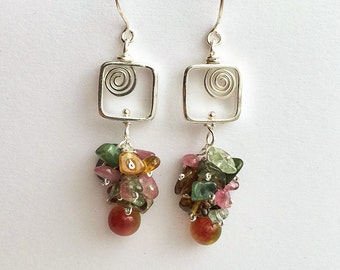 Natural tourmaline gemstones sterling silver earrings delicately handmade with sterling silver wire and sterling silver chain