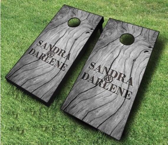 Sophisticated Wood Wedding Set Cornhole Boards With CUSTOM TEXT Bride