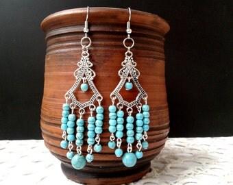 Turquoise earrings Сhandelier earrings Turquoise jewelry Gemstone earrings Dangle Earring Long chandelier Boho earrings Beaded Earrings