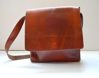 Brown Leather Shoulder Strap Bag Satchel Vintage Leather Bag Messenger Bag