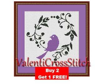 Purple BIRD Cross Stitch Pattern, Modern cross stitch,counted cross stitch pattern,Birds Pattern, cross stitch bird