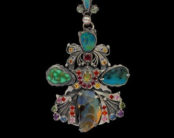 Unique Handcrafted Opal Turquoise Pendant